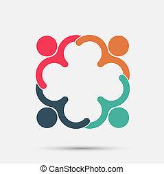 四人, 在圓圈, 藏品, hands.the, 最高層, 工人, 是, 會議, 在, the, 同樣, 力量, room.