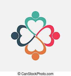 四人, 心, 在圓圈, 藏品, hands.the, 最高層, 工人, 是, 會議, 在, the, 同樣, 力量, room.