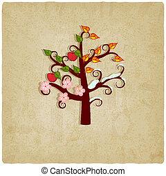 四個季節, 老, 樹, 背景