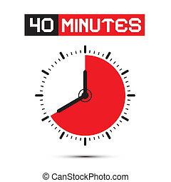 四十, 分鐘, 觀看, -, 鐘, 矢量, 插圖