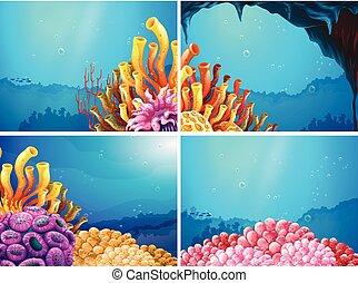 四, 在下面, 場景, 海洋