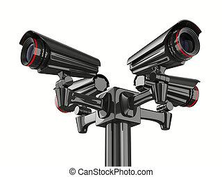 四, 安全照像机, 在懷特上, 背景。, 被隔离, 3d, 圖像