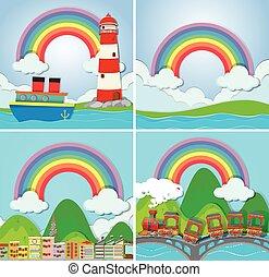 四, 彩虹, 場景
