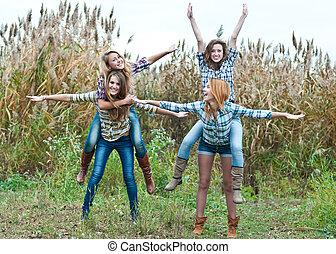 四, 愉快, 青少年的 女孩, 朋友, 玩得高興, 在戶外