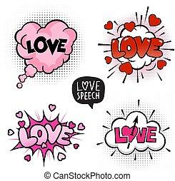 四, 愛, 氣泡, 集合, 演說