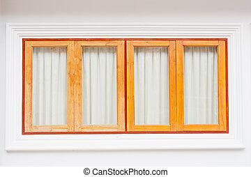 四, 木頭, 窗口, 以及, 綠色的帘子