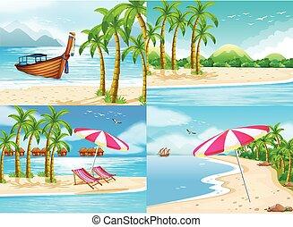 四, 椰子, 場景, 樹, 海洋