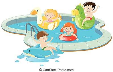 四, 樂趣, 孩子, 有, 池