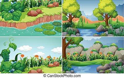 四, 河, 場景, 樹