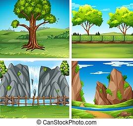 四, 瀑布, 背景, 場景, 樹