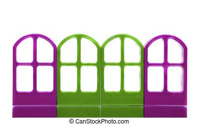 四, 紫色, 綠色, 空, 門, 框架