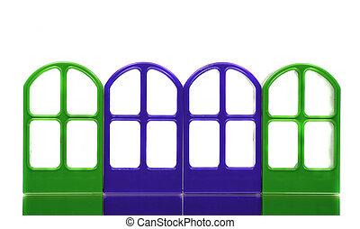 四, 綠色的藍色, emptry, 門, 框架