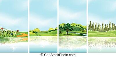 四, 背景, 小山, 樹, 場景