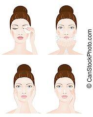 四, 脸, 打扫, 阶段, 妇女