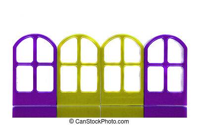 四, 黃色, 藍色的門, 框架