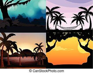 四, 黑色半面畫像, 場景, 樹, 自然