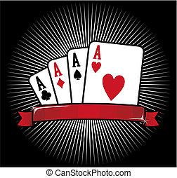 四, aces., 扑克牌, 图标