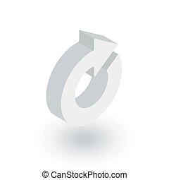 回しなさい, ベクトル, 矢, icon., 平ら, 等大, 更新, 3d