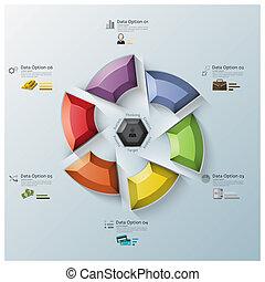 回しなさい, 多角形, ビジネス, 現代, 3, infographic, プロペラ, 次元