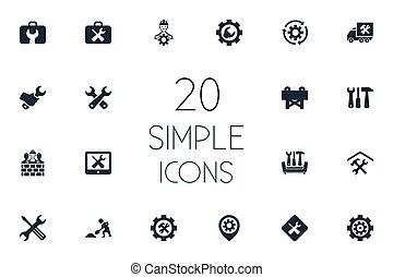 回しなさい, 道具箱, ベクトル, ねじ回し, 要素, レンチ, 単純である, builder., 他, 改修, 修理, synonyms, セット, 建築者, イラスト, icons.