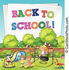 回到学校, 主题, 带, 孩子, 在中, 操场