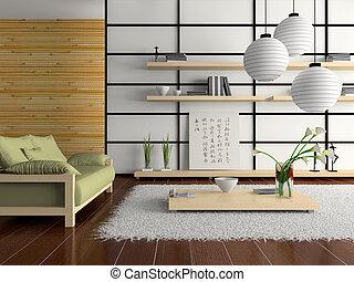 回家內部, 在, 日語, 風格, d, rendering