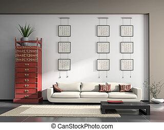 回家內部, 由于, 漢語, 家具, 3d, rendering