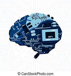 回路, マザーボード, 上に, 現代, メカニズム, 脳, 形, 背景