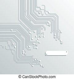 回路, -, 手ざわり, ベクトル, 板, 背景, 3d