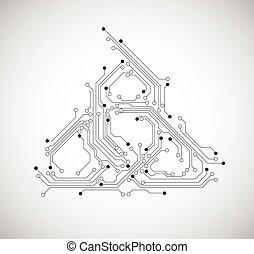 回路, 抽象的, -, ベクトル, 板, 背景