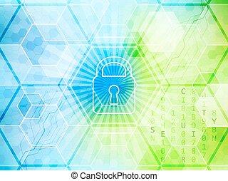 回路, 抽象的, 世界的である, 錠, ベクトル, 背景, 技術的である, board., セキュリティー, 六角形, concept.