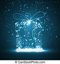 回路, 背景, 板, 贈り物, クリスマス