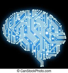 回路, form., 脳, 板, 人間, 技術的である, illustration.