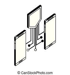 回路, smartphones, 電子, 保護, 装置