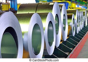 回転する, の, 亜鉛, 鋼鉄, シート