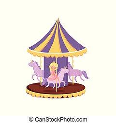 回転木馬, カラフルである, 公園, イラスト, ラウンド, ベクトル, 陽気, 行きなさい, 馬, 漫画, 娯楽