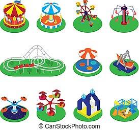 回転木馬, セット, 回転木馬, カーニバル, メリーゴーランド, サーカス, 公園, 隔離された, イラスト, ∥あるいは∥, 魅力, ベクトル, roundabout, 背景, アイコン, 白, ラウンド, 娯楽
