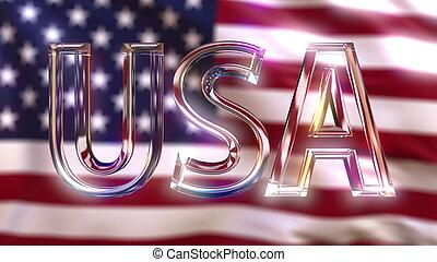 回転, アメリカ, ガラス, flag., に対して, 振ること, キャプション, アメリカ人, レンダリング, 3d