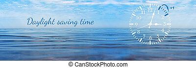 回転, セービング, 冬, 時計, 壁, 日光, dst., time., 行く, 時間, forward.