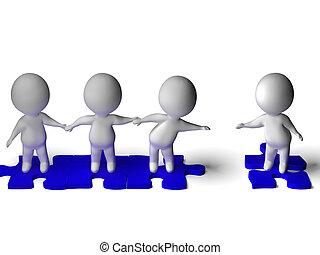 团体, 一起, 显示, 友谊, 朋友, 加入