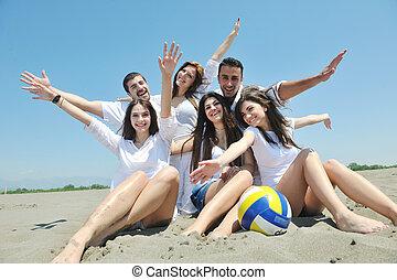 团体, 人们, 年轻, 有乐趣, 海滩, 开心