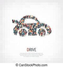 团体, 人们, 形状, 汽车