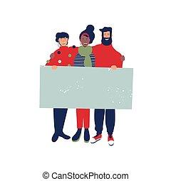 团体, 人们, 签署, 握住, 圣诞节, 空