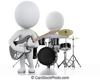 团体, 人们。, 音乐, 背景, 白色, 3d