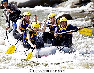 团体, 划船, 在上, 河