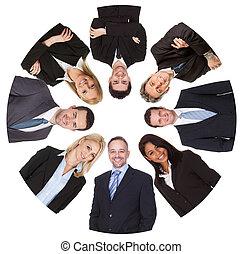 团体, 商务人士, 多样化, 低的角度观点