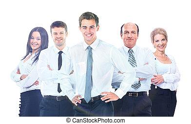 团体, 商务人士, 隔离, 背景。, team., 白色