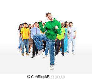 团体, 在中, 临时工, 开心, 人们, 微笑, 同时,, 站, 隔离, 结束, a, 白的背景