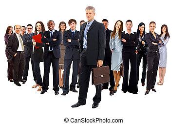团体, 在中, 商业, 人们。, 隔离, 结束, 白的背景