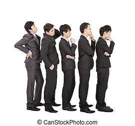 团体, 在中, 商人站, 在一条线上, 等待